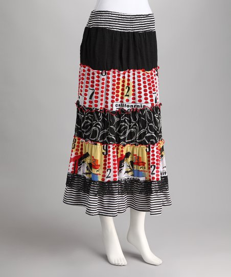 Black &amp; Orange Peasant Skirt