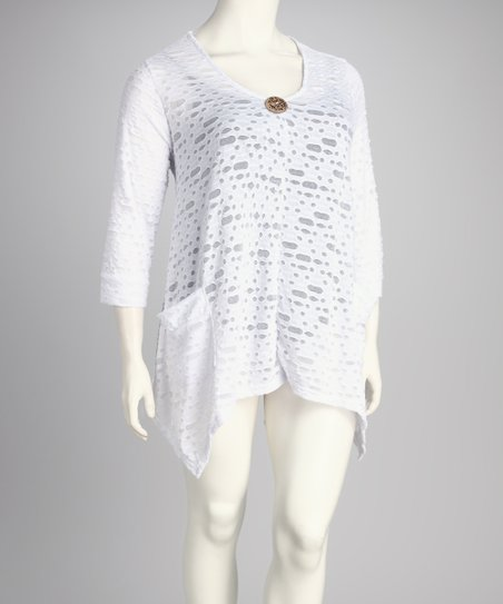White Cutout Button Plus-Size Handkerchief Top
