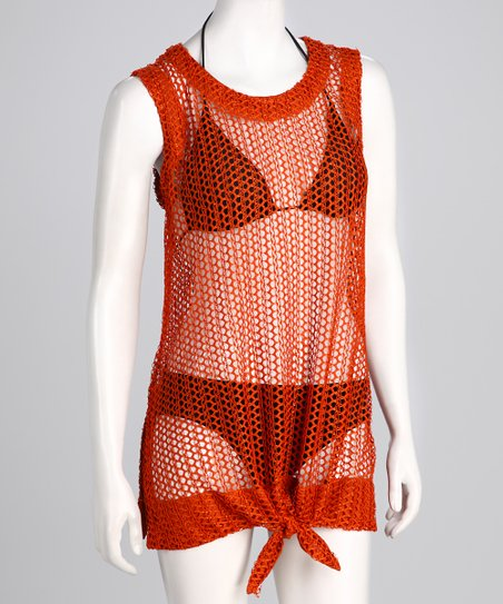 Burnt Orange Tie-Front Mesh Sleeveless Cover-Up