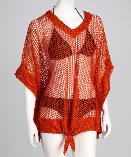 Burnt Orange Tie-Front Mesh Cover-Up