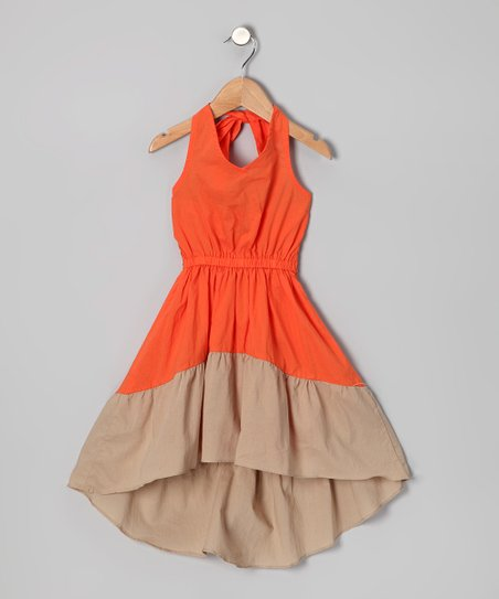 Orange & Beige Erin Dress - Infant, Toddler & Girls