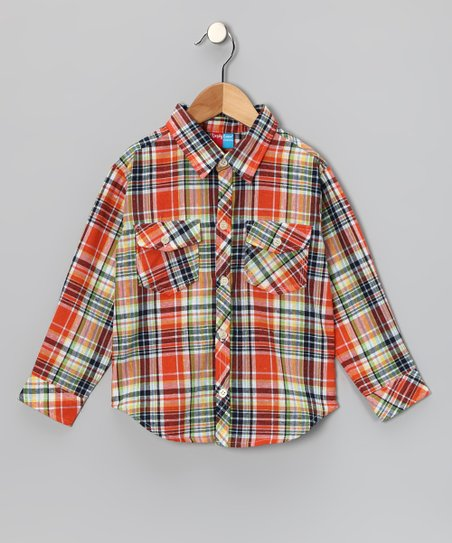 Orange Plaid Button-Up - Infant, Toddler & Boys