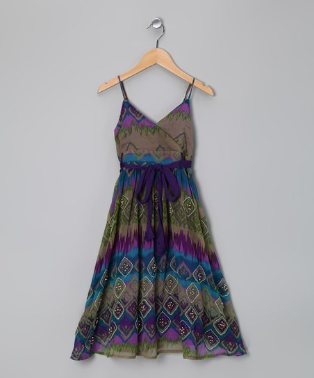 Purple Diamond Beaded Surplice Dress - Girls