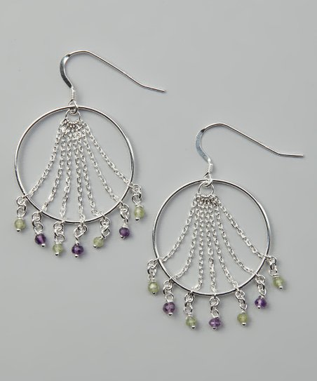 Sterling Silver & Gemstone Fringe Disc Drop Earrings