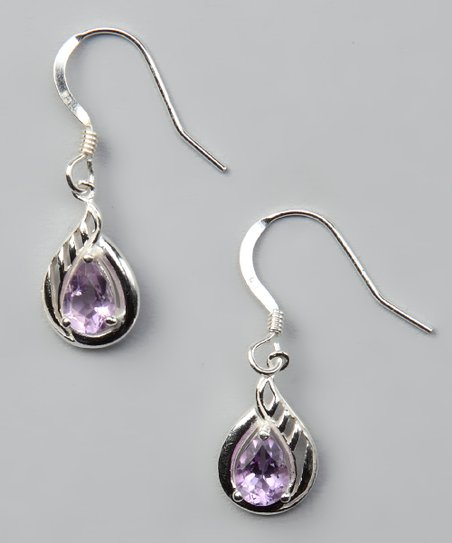 Amethyst &amp; Sterling Silver Teardrop Earrings