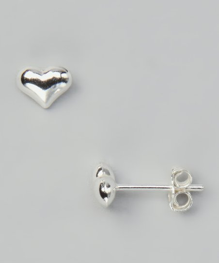 Sterling Silver Fancy Heart Stud Earrings