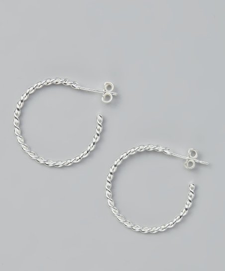 Sterling Silver Medium Twist Hoop Earrings