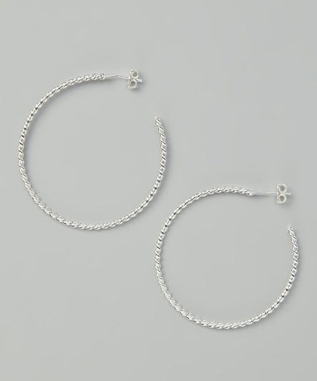 Sterling Silver Large Twist Hoop Earrings