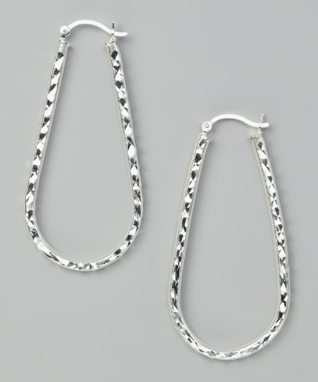 Sterling Silver Designer Diamond-Cut Hoop Earrings