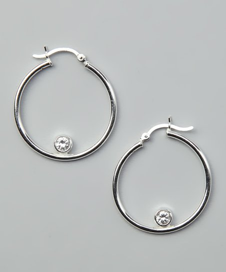 Cubic Zirconia & Sterling Silver Hoop Earrings