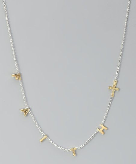 Gold &amp; Sterling Silver &#039;Faith&#039; Necklace