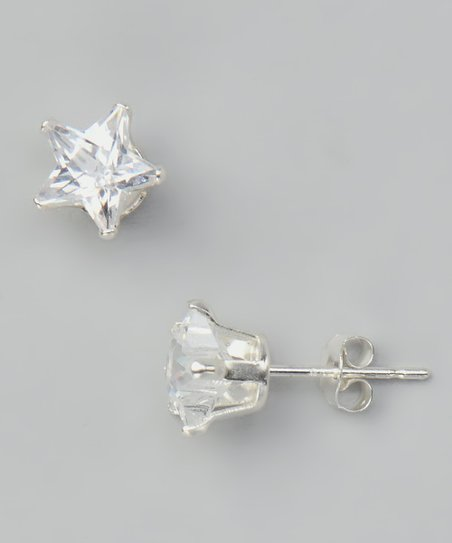 Cubic Zirconia Star Stud Earrings