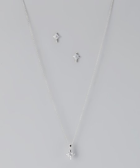 Cubic Zirconia & Sterling Silver Pendant Necklace & Earrings