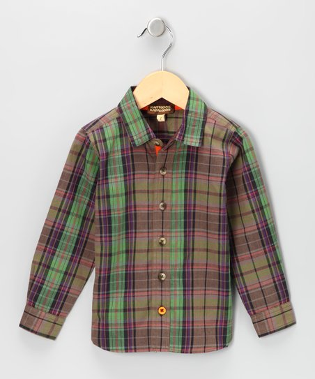 Olive Plaid Button-Up - Infant, Toddler & Boys