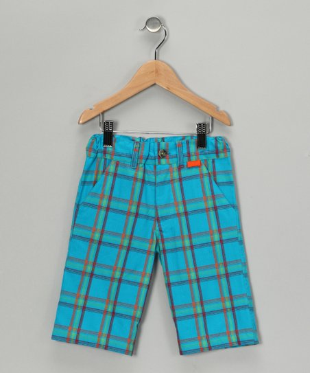 Turquoise Plaid Shorts - Infant