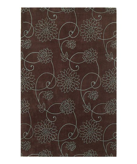 Chocolate & Blue Flora Emerald Rug