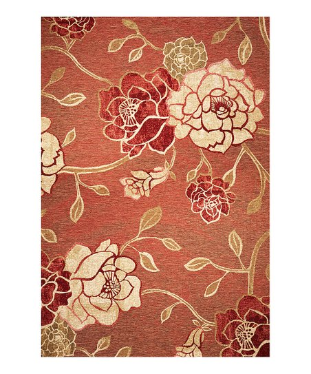 Brick Red Flora Indoor/Outdoor Rug