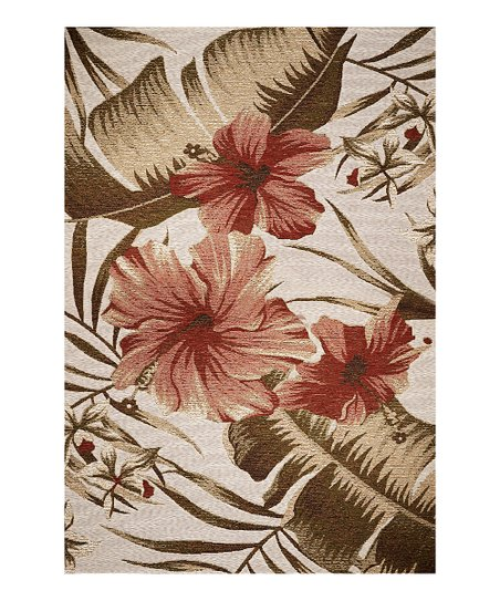 Ivory Hibiscus Indoor/Outdoor Rug
