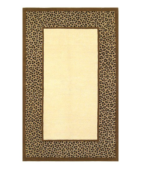 Ivory & Coffee Leopard Border Sahara Rug
