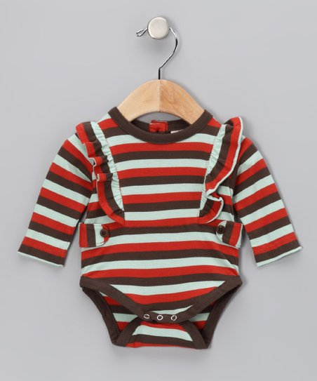 Tri-Stripe Organic Ruffle Bodysuit - Infant