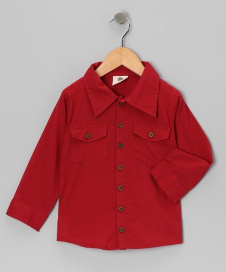 Mineral Red Woven Organic Button-Up - Infant, Toddler & Boys