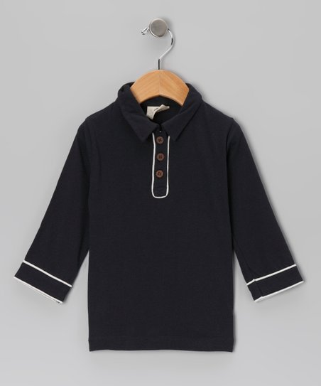 Indigo Organic Piped Polo - Infant, Toddler & Boys