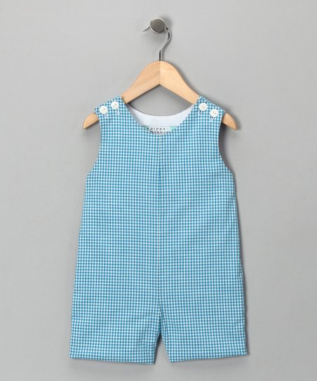 Aqua Gingham Shortalls - Infant &amp; Toddler