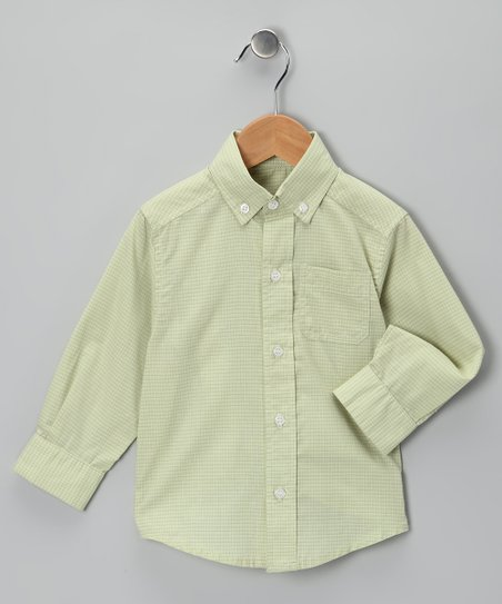 Green Windowpane Plaid Button-Up - Toddler & Boys