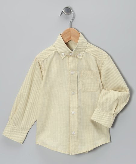 Yellow Windowpane Plaid Button-Up - Toddler &amp; Boys