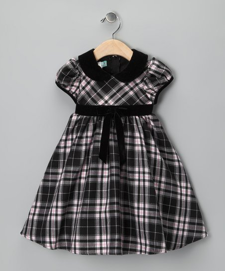 Pink Plaid Cap-Sleeve Dress - Infant