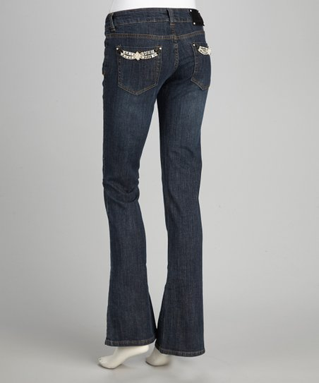 Blue Embellished Pocket Bootcut Jeans