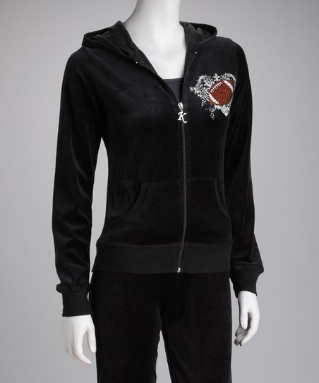 Black Football Velour Zip-Up Hoodie & Pants