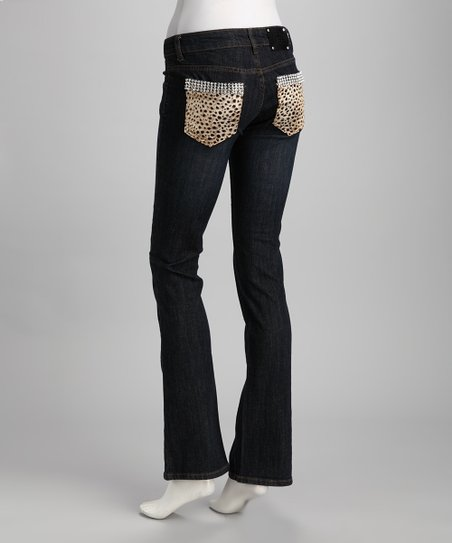 Blue Leopard Pocket Jeans