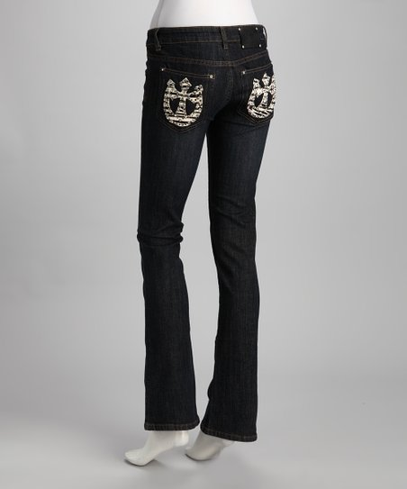 Blue Zebra Horseshoe Pocket Jeans
