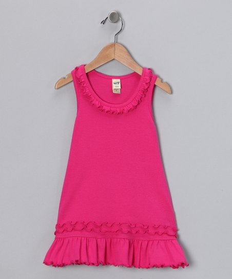Hot Pink Lettuce-Edge Dress - Infant, Toddler & Girls