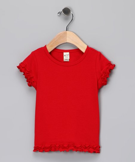 Red Lettuce-Edge Tee - Infant, Toddler & Girls