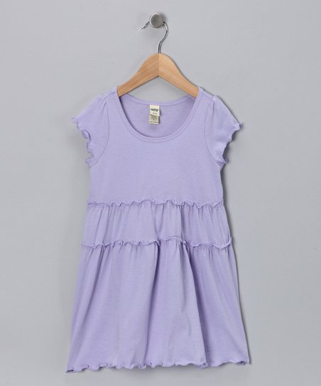 Lavender Tiered Lettuce-Edge Dress - Infant, Toddler & Girls