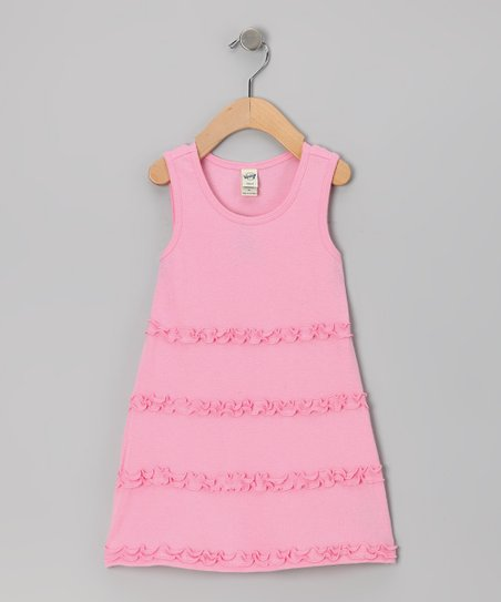 Bubble Gum Lettuce-Edge A-Line Dress - Toddler & Girls