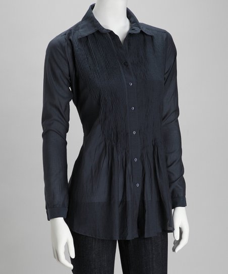 Navy Pin Tuck Button-Up Top