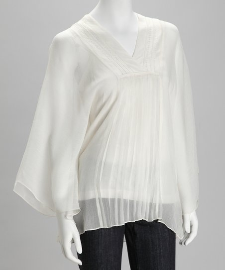Ivory Sheer Cape-Sleeve Top