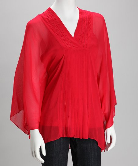 Red Sheer Cape-Sleeve Top