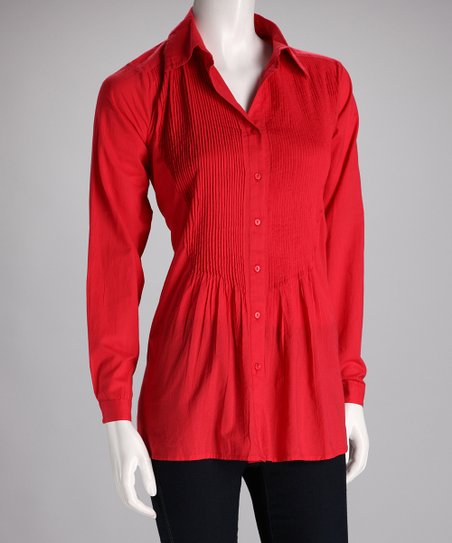 Red Pin Tuck Button-Up Top