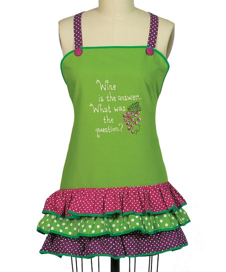 'Wine Is the Answer' Frill Apron