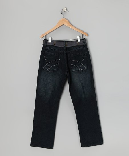Blue-Black Fashion Straight-Leg Jeans - Boys