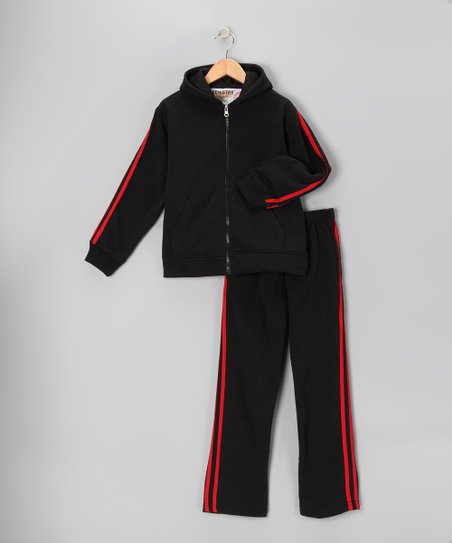 Black & Red Fleece Zip-Up Hoodie & Track Pants