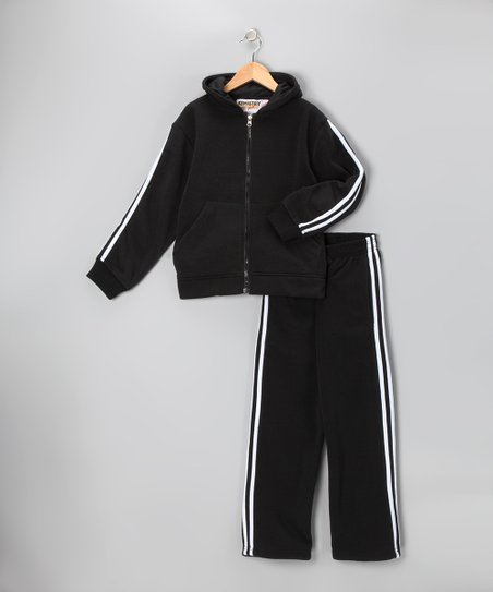 Black & White Fleece Zip-Up Hoodie & Track Pants