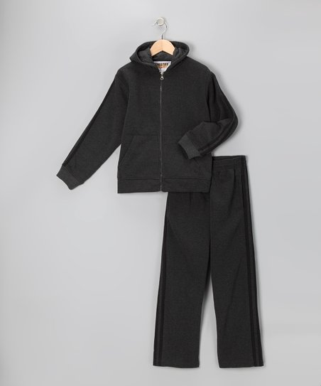 Charcoal & Black Fleece Zip-Up Hoodie & Track Pants