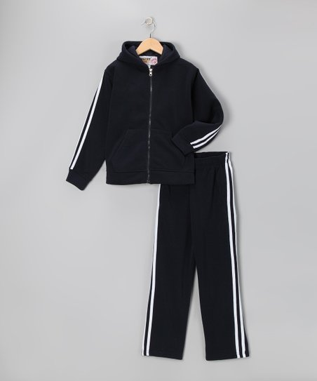 Navy & White Fleece Zip-Up Hoodie & Track Pants