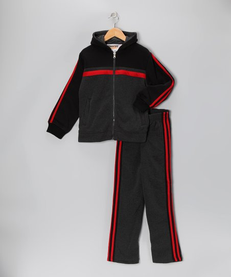 Charcoal & Red Fleece Zip-Up Hoodie & Track Pants