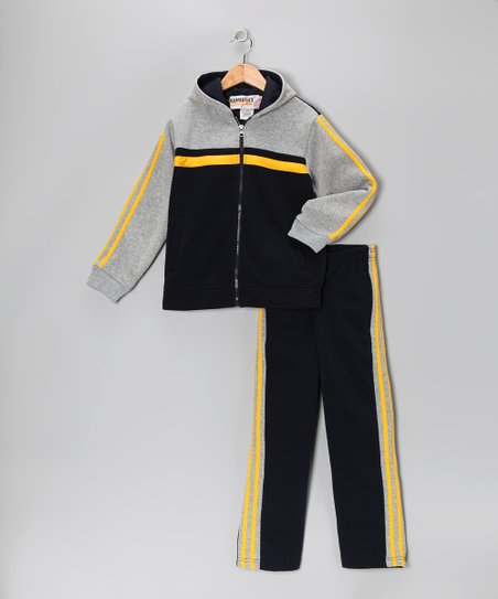 Navy & Yellow Fleece Zip-Up Hoodie & Track Pants - Boys